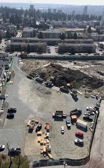 Ariel view of Coquitlam YMCA building site